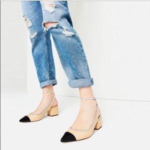Zara TRF ankle wrap cap toe block heel sling back